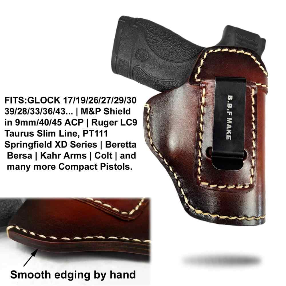 B B F MAKE Gun Holster Leather For S&W M&P Shield - GLOCK 17 19 22 23 26 27  32 33 42 43 / Springfield XDS IWB Holsters Brown