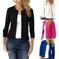 Nova cardigan manga da jaqueta terno pequeno primavera e no verão das mulheres da moda simples Magro paletó