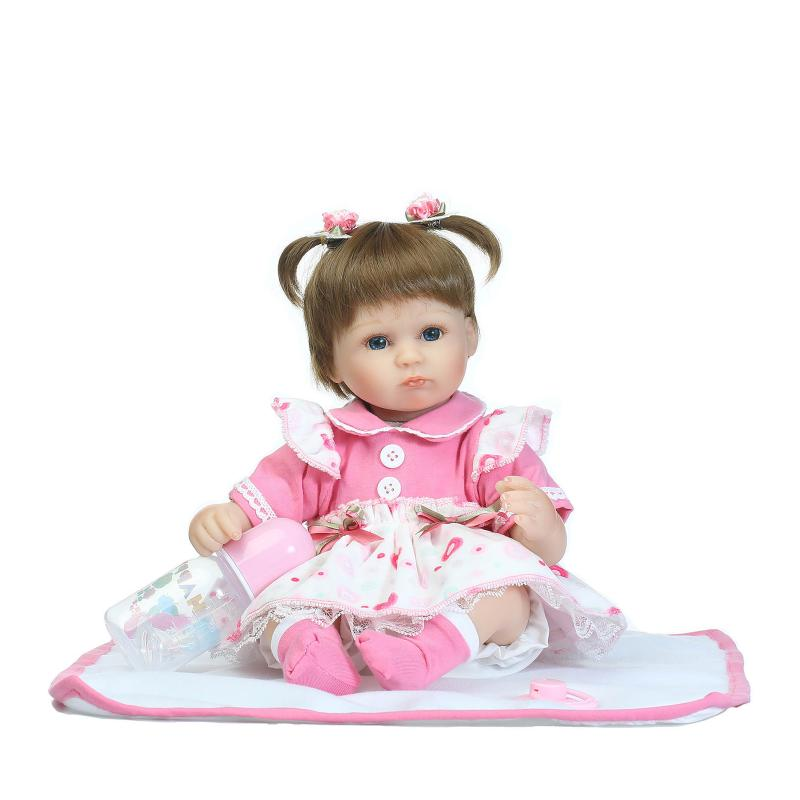NPKCOLLECTION 40cm New silicone reborn baby doll toy girls brinquedos birthday gift for kid vinyl newborn babies dolls lifelike 40cm silicone reborn baby doll toy for girls realistic newborn princess babies dolls lifelike lovely kid child birthday present