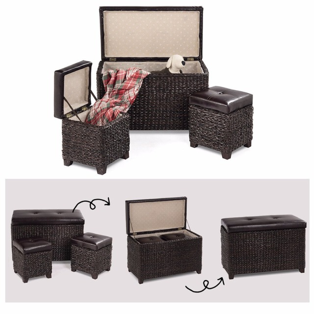 Giantex 3 Piece Bench Foot Rest Rattan Stools Leather Ottoman Seating  Storage Living Room Furniture
