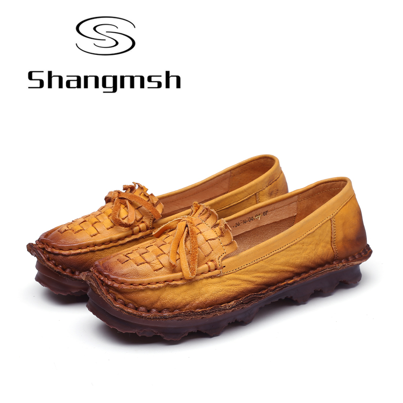 Shangmsh Sweet Women's Flat Shoes Handmade Genuine Leather Soft Loafers Slip On Casual Driving Female Shoes Large Size Footwear цена и фото