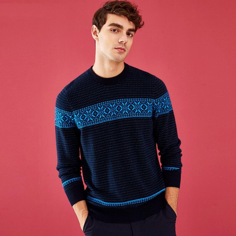 ZHILI Men's Crew Neck Sleeve Long Cashmere Sweater