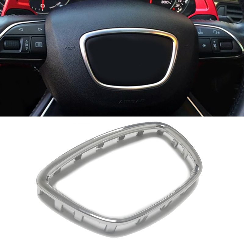 Bright Silver abs <font><b>chrome</b></font> steering wheel trim center emblem logo ring frame sequins sticker accessories for <font><b>Audi</b></font> <font><b>A8</b></font> D4 A7 A6 C7 image