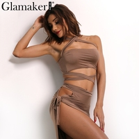 Glamaker Halter Split Sexy Women Dress 2016 Elegant Evening Party Summer Dress Vestidos Autumn Hollow Out