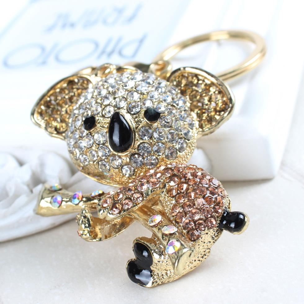 Koala Gold Bear Tree Lovely Charm Pendant Cute Crystal Purse Bag Key Chain Women In Jewelry Delicacy Gift Tiny(China)