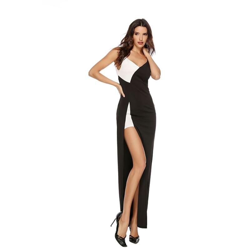 Sexy Split Maxi Dress Women  Autumn V-neck Fit Skinny White Black Patch Party Dresses Elegant Vintage Vestidos Plus Size