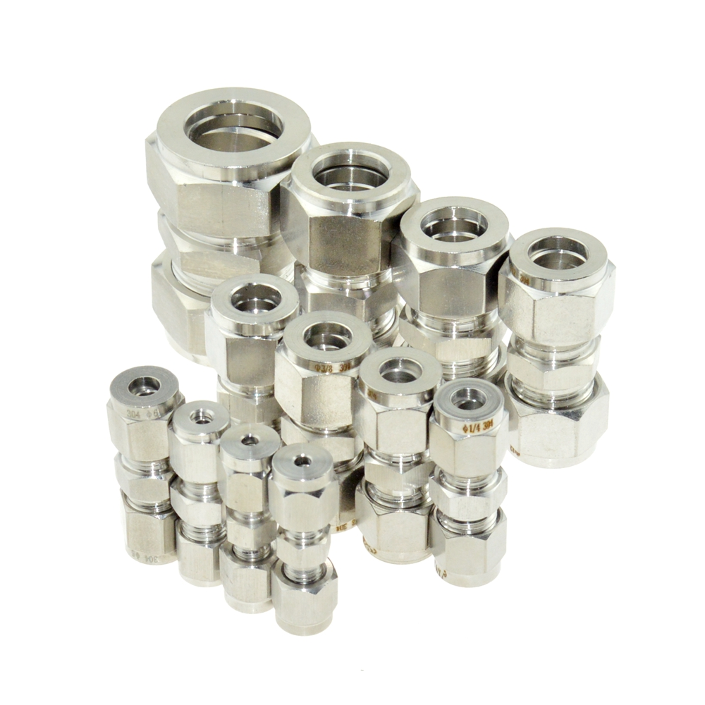 Stainless Steel Pipe Fittings Equal 6mm 8mm 12mm 16mm 1/4 1/2 OD Pipe Tube Ferrule Compression Fitting Coupler SS304 Connector blue