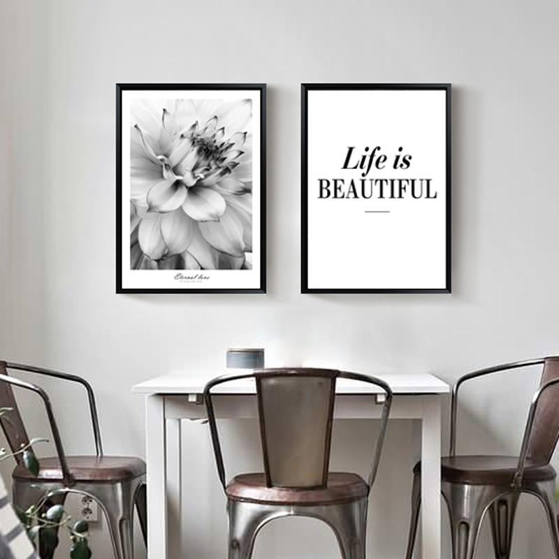 Nordic Posters Flower and Letter Wall Art Canvas Prints Wall Pictures For Living Room Home Decor Canvas Painting No Frame