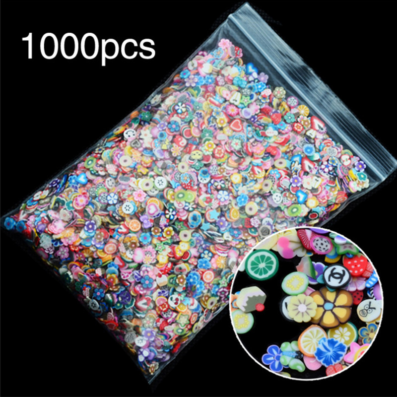 1000pc/bag Nail Art Decorations Fruit Flower Cartoon Smiley Heart Feather Animal Fimo 3d Manicure Polymer Clay Nails Sticker New наклейки для ногтей brand new 1000 fimo 3d fimo 0410