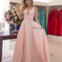 Высокое качество розовый длинные платья для выпускного вечера V шеи Line этаж Длина Элегантный Формальные Дешевые вечерние платья Свадебная вечеринка платье