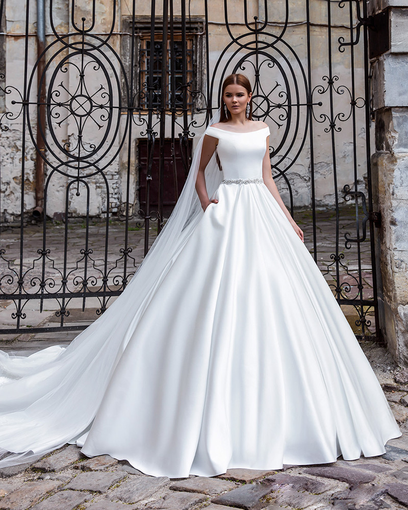 9e57b0e6ea3 fashion simple white long wedding dress with train 2016 boat neck a line  satin Pockets bridal marry gowns vestido de noiva-in Wedding Dresses from  Weddings ...