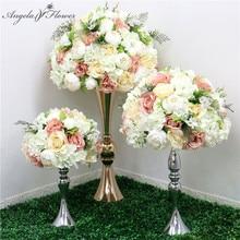 ใหม่35/45/50ซม.ผ้าไหมกุหลาบไฮเดรนเยียพีโอนีดอกไม้ประดิษฐ์ดอกไม้Centerpiecesงานแต่งงานพื้นหลังDecorตารางดอกไม้