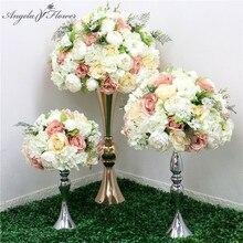 Yeni 35/45/50CM ipek gül ortanca şakayık yapay çiçek top Centerpieces parti düğün arka plan dekor masa çiçek topu