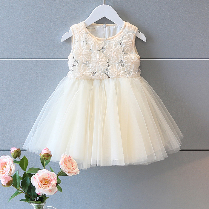 2016 Baby Girls Tulle Lace Party Dresses Kids Girl Rosette Floral Sequined Dress Girl Princess