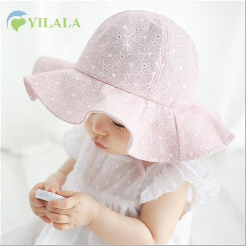Mooie baby meisjes hoed kant princesse zomerzon hoed effen Panama - Babykleding