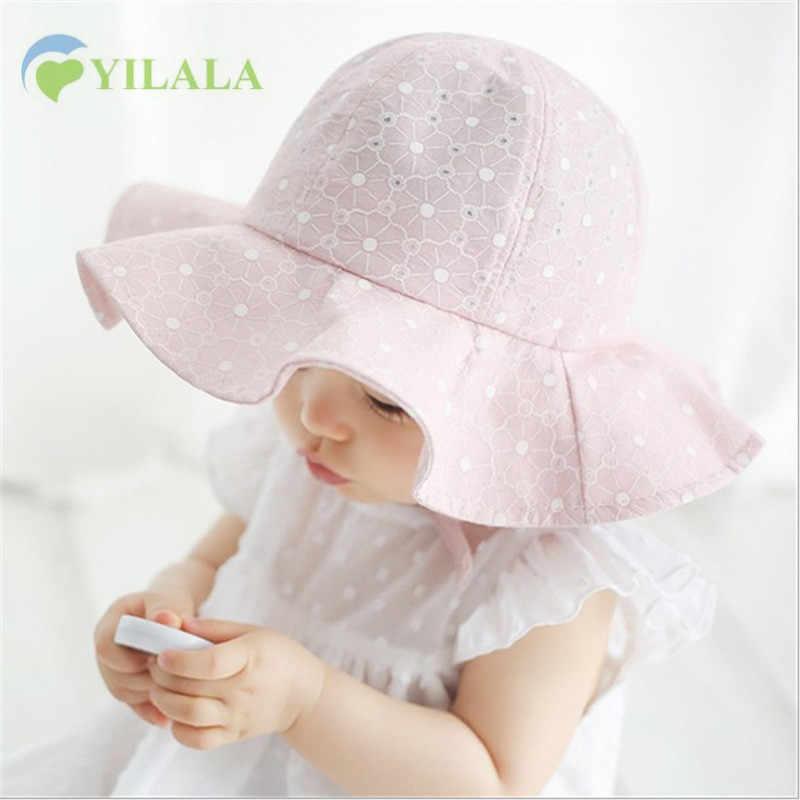 e8e8c9eb51f Lovely Baby Girls Hat Lace Princesse Summer Sun Hat Solid Panama Girls Beach  Cap Children Wide