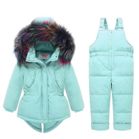 Baby Kids Girl Clothing Sets 25 Degree Russia Winter Colored Fur Hooded Coat + Overall Jumpsuit Snow Children Suit