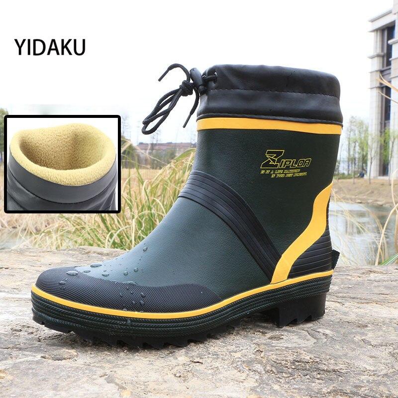 YIDAKU Men Low To Help Short Tube Rain Boots Spring Autumn Fishing Water Flat Shoes Male Fashion Waterproof Anti-skid Rain Boots