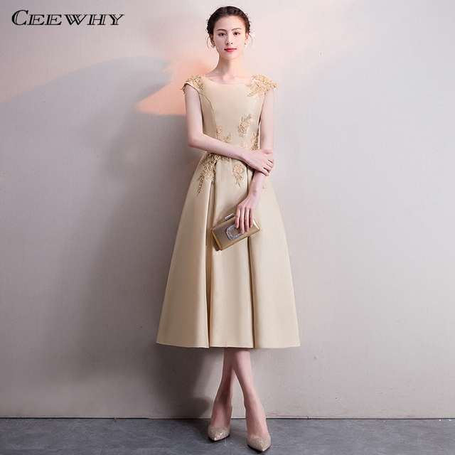 CEEWHY A-Line Satin Formal Dress Women Elegant Short Evening Dress Plus Size  Abendkleider Suknia Wieczorowa Evening Gowns b77ef3953ae0