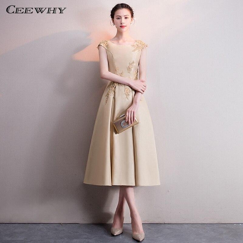 CEEWHY A-ligne Satin Formelle Robe Femmes Élégante Robe De Soirée Courte Plus La Taille Abendkleider Suknia Wieczorowa Robes De Soirée