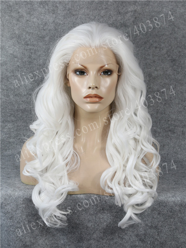 ФОТО Cosplay White Heat Resistant Long Wavy Beauty Synthetic Lace Front Wig