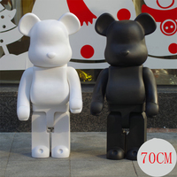 Large 1000% 70CM Bearbrick fashion Black bear and white bear figures Toy For Collectors Be@rbrick Art Work model decorations