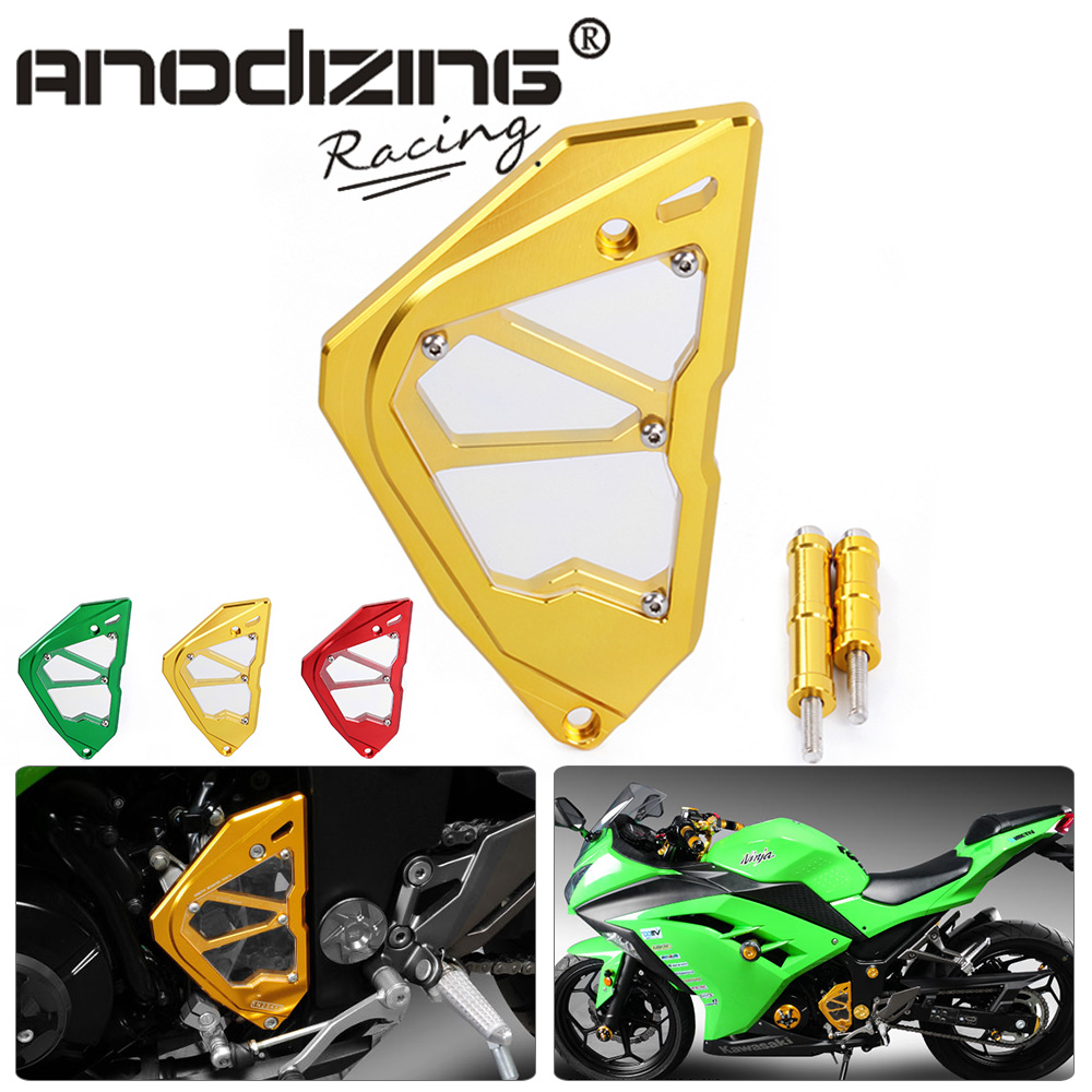 CNC Motorcycle For Kawasaki Ninja 300 Sprocket Chain Guard Accessories Left Engine Front Sprocket Chain Guard Protection Cover mgoodoo cnc aluminum motorcycle left engine guard chain protector front sprocket cover panel for yamaha r3 r25 2014 2015 2016