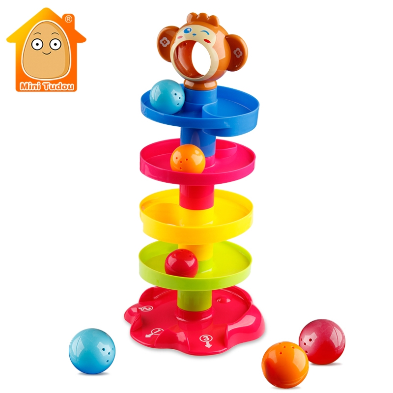 Swirl Ball Tower Roll Swirling Ramp With 3 Balls Baby And Toddler Development Educational Toys Activity Rattle Stacking Toy