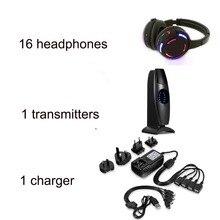 سماعات رأس ديسكو صامتة LED سماعات لاسلكية قابلة للشحن مع 16 + 1 توريد المصنع