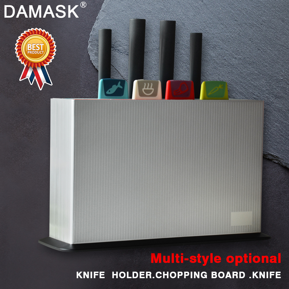 Damask Kitchen Set Plastic Cutting Chopping Board + Knives Set + ABS Holder Fruit Vegetable Cutting Board 4 Colors Cooking Tools
