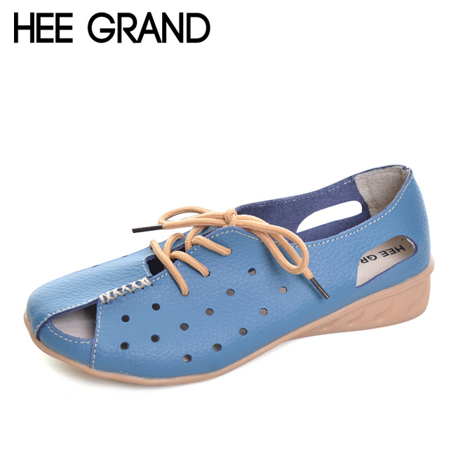 HEE GRAND Split Leather Sandals Summer Wedges Gladiator Sandals Platform Shoes Woman Lace-Up Breathable Women Shoes XWZ2761