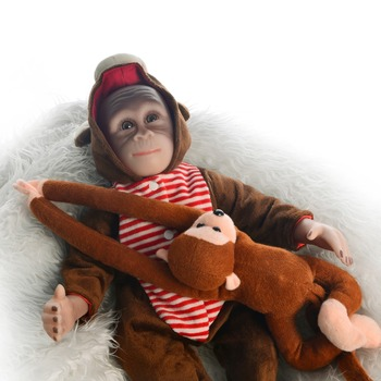 soft cloth Body Reborn Baby Doll 46 cm Lifelike monkey silicone Baby doll Reborn Realistic Babies Dolls For Kids Xmas best Gift