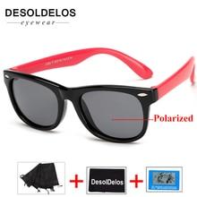 2019 New Silicone Childrens Polarizing Sunglasses Square Boys and GirlsGlasses UV400 Brand Design Soft Safety