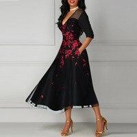 5XL Sexy Party High Street Slim Summer Dress Elegant Women Flowers Pockets Plus Size Dress Sweet Hallow Out Lace Dress Vestidos