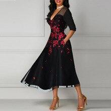 5XL セクシーなパーティーハイストリートスリムサマードレスエレガントな女性花ポケットプラスサイズドレス甘いハロウアウトレースドレス vestidos