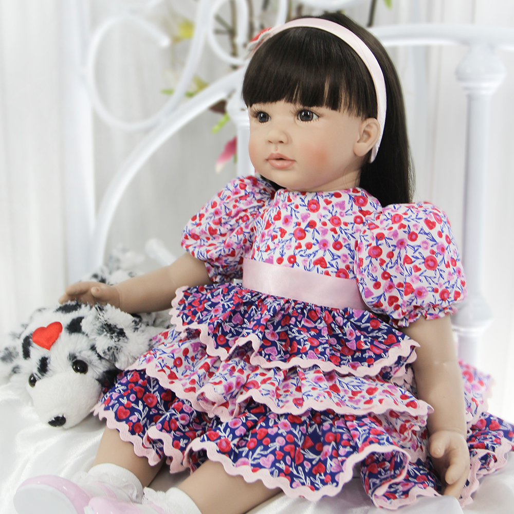 Black Hair Brown Eyes Silicone Reborn Baby Girl Doll Lifelike Toddler Princess Girl Doll Toys for Sale Girls Best Birthday Gifts 52cm shoulder length hair reborn toddler baby girl doll smling princess girl doll in flower dress girls toys birthday xmas gifts