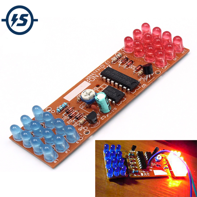 Electronic DIY Kit Red Blue Double Color Flashing Lights DIY Kit Strobe NE555 + CD4017 Practice Learning Kits Suite Parts Gift