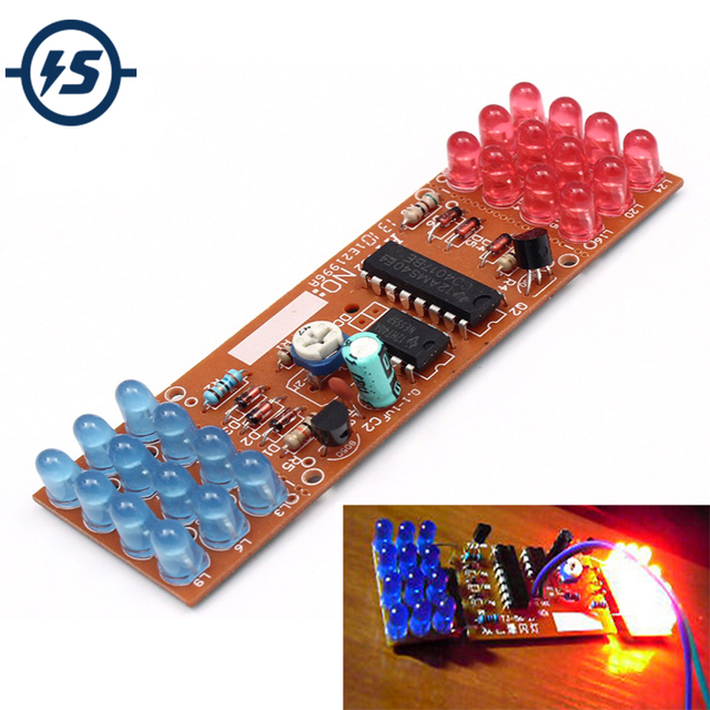 Red Blue Double Color Flashing Lights DIY Kit Strobe NE555 + CD4017 Electronic Practice Learning Kits Suite Parts Gift