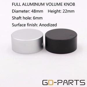 Image 1 - 1 PC robuste 48*22mm usiné plein aluminium Volume potentiomètre bouton capuchon pour Hifi DVD DAC CD platine amplificateur argent noir