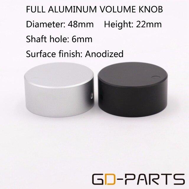 1 PC robuste 48*22mm usiné plein aluminium Volume potentiomètre bouton capuchon pour Hifi DVD DAC CD platine amplificateur argent noir
