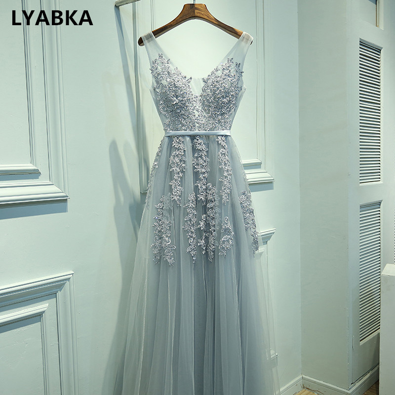 Evening-Dress V-Neck Tulle Robe-De-Soiree Vestido-De-Festa Gray Sexy Appliques with High-Quality