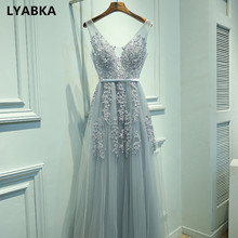 Sexy V-neck Evening Dress Robe De Soiree 2020 High Quality Gray Tulle With Appliques Evening Dresses Long Dress Vestido De Festa