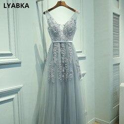 Sexy V-neck Evening Dress Robe De Soiree 2020 High Quality Gray Tulle With Appliques Evening Dresses Long Dress Vestido De Festa