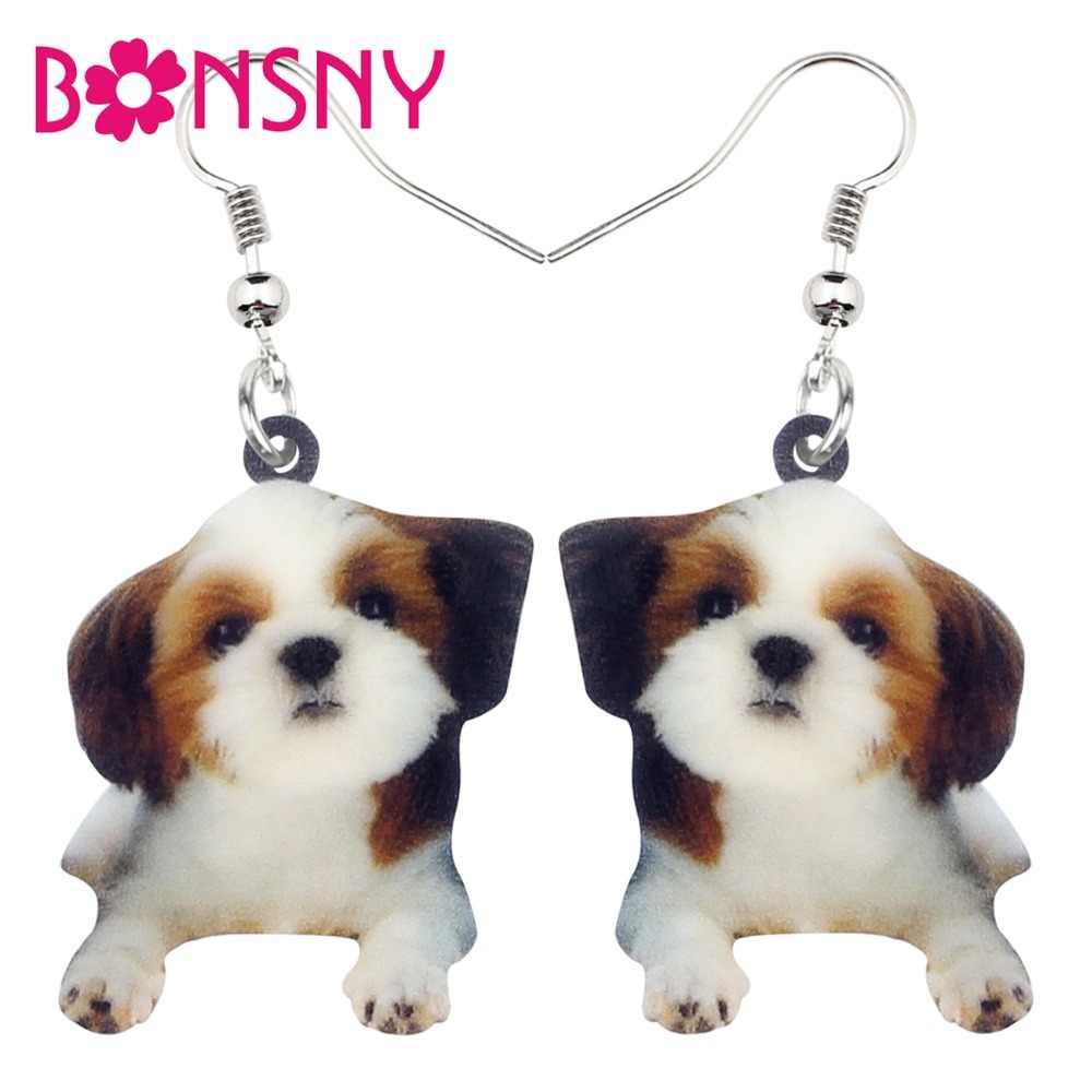 Bonsny акриловые милый костюм с рисунком героев из мультфильмов в китайском стиле тцу собака серьги с болтающимися частями, милые животные украшения для Для женщин подарок для девочек аксессуары оптом