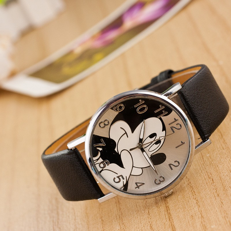 Cartoon relogio Fashion Mickey Mouse watch women unisex Leather quartz wristwatch For Children watches Boy Girl Favorite gift 2017 new relojes cartoon children watch captain america watches fashion kids cute relogio leather quartz wristwatch boy gift