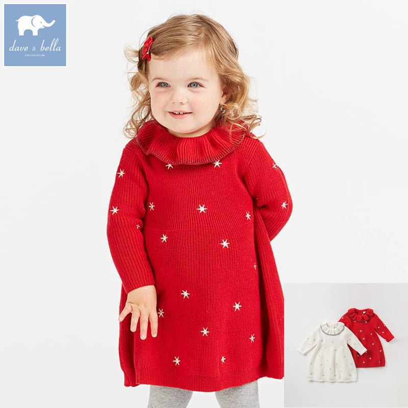 DB8973 dave bella baby Knitted Dress girls long sleeve autumn dresses kids woolen dress children birthday party boutique dress spring autumn woman dress faux pearl rhinestone beading sleeve cuff knitted dress fashion vintage elastic black red party dress