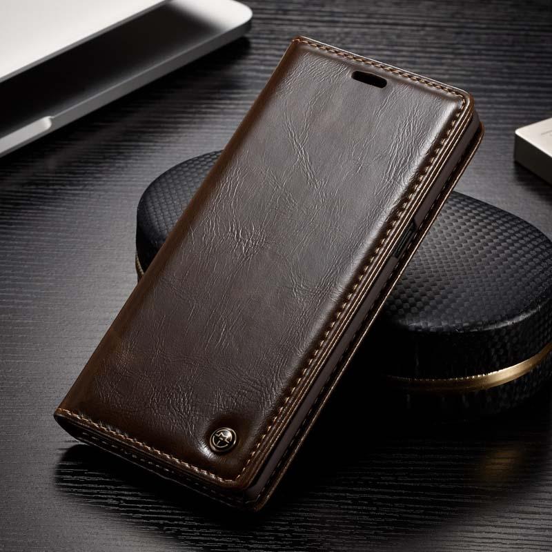 Caseme Fundas para móviles marca original Cuero auténtico imán auto Flip cartera teléfono cubierta para Samsung Galaxy Nota 8 js0333