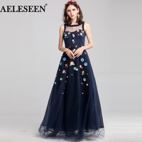 AELESEEN Fashion Designer Maxi Dress 2018 New High Quality Women's Sleeveless 3D Appliques Embroidered Elegant Long Party Dress