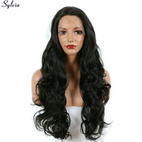 Sylvia Long Deep Wave Heat Resistant Hair Glueless Synthetic Lace Front Wig 2 Natural Dark Brown