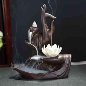 Image 1 - Creative Ceramic Waterfall Backflow Incense Burner Tathagata Buddha Lotus Incense Cones Stick Holder Use In Home Office Teahouse